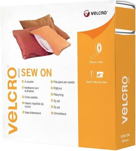 Velcro Hook & Loop Tape: Sew-On: 10m x 50mm: White - V60282